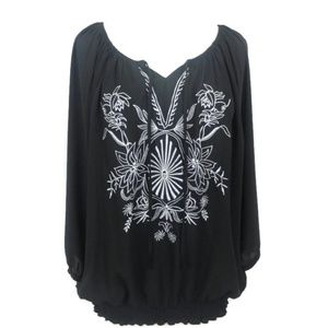 Lane Bryant Embroidered Sequin Peasant Top 18/20